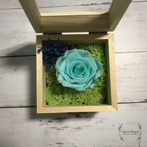 PRESERVED TURQUOISE ROSE IN A BOX