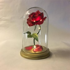 SINGLE RED ROSE IN GLASS DOME