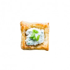 Blue cheese with Arugula on Puff square by Bizu