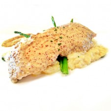 Salmon with Pommery Mustard cream by Bizu