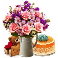 Flowers with Cakes and Teddy Bear