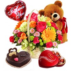 Flowers with Cake, Teddy Bear, Chocolates and Balloons