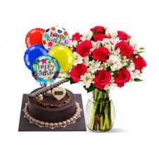 Flowers with Cake and Balloons