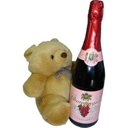Small Teddy Bear with Champagne