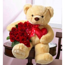 Cute Teddy Bear with Roses in a Bouquet and Heart
