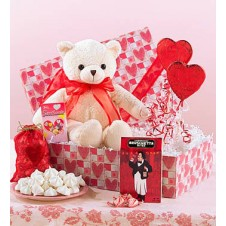 Teddy Bear with Balloons and Chocolates