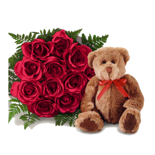 1 Dozen Red Roses in a Bouquet with one Teddy Bear