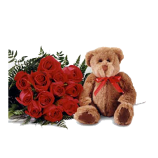 1 Dozen Red Roses with Filler  in a Bouquet  and Bear