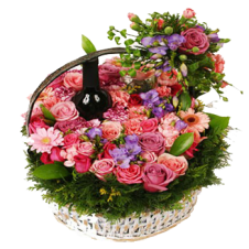 A Basket of Flowers With Sparkling Juice