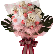 Baby Pink in a Bouquet Roses with Bears
