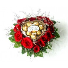 Ferrero Chocolate with Red Roses in a Heart Shapped Basket