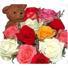 Multicolor Roses with Bear in a Bouquet