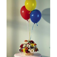 1 Basket Flowers with 3 Balloons