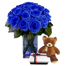 Imported Holland Blue Roses in a Vase w/ Small Brown Teddy Bear and Small Box of Chocolate