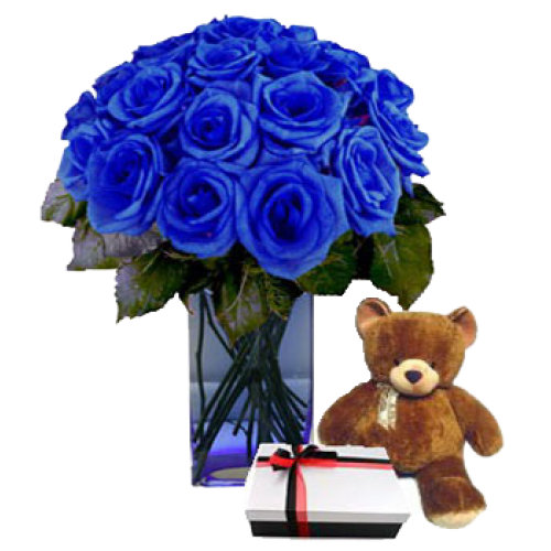 Imported Holland Blue Roses In A Vase W Small Brown Teddy Bear And