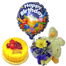 Bouquet of Mixed Flower with Teddy Bear and Mango Cake