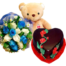 Heart Chocolate Cake with Medium Size Bear and White and Blue Sprayed Roses in a Bouquet