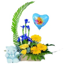 Mixed Flowers Contains Yellow Gerberas , Yellow Carnation and Greenery  in a Basket w/ Small Teddy Bear and 1 Balloon
