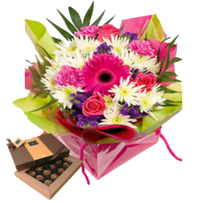 Flowers  in a Bouquet With Small Box of Chocolates
