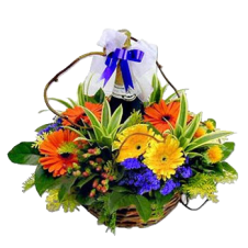 Gerbera with Red Grape Juice in a Basket