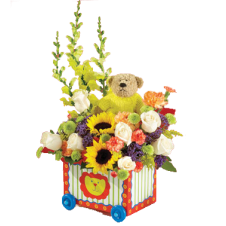 Mixed Flowers in a Basket with a Brown Mini Bear