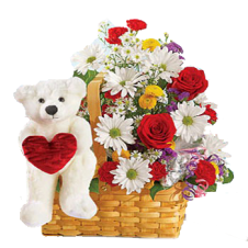 Mixed Flowers in a Basket  with White Small Teddy Bear