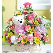 Flowers in a Basket  with White Medium Size Teddy Bear