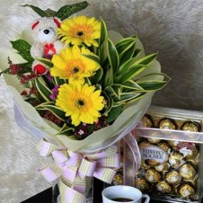 A Flowers in a Bouquet with Brown Mini Bear and Ferrero Rocher Chocolate