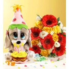 Flowers in a Bouquet  with Stuff Toys Bear