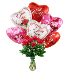 6 pcs Red Roses in a Vase With 6 Pcs I Love You  Balloons