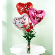 3 Pcs Red Roses in a Bud Vase with 3 Pcs I Love You Balloons