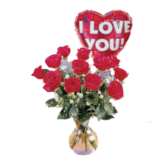 1 Red Roses in a Vase with I Love you Balloon