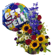 A Basket of Sunflowers, Snap Dragon Pompom Mums, Roses and Malaysian Mums with Mylar Balloon.