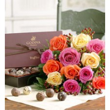 Multicolored Roses in a Bouquet  with Box of Chocolates