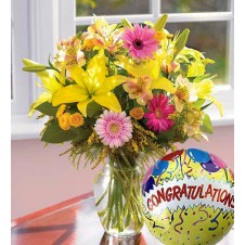 Mixed Flowers Contains Star Gazer Gerberas in a Vase with Mylar Balloon