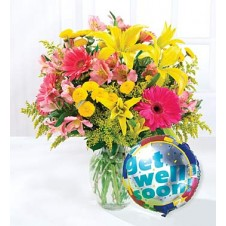 Mixed Flowers Gerberas Star Gazer Mum in a Basket with Mylar Balloons