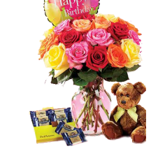 Multicolored Roses in a Vase With Teddy Bear and Chocolates GIft Package