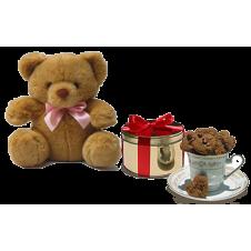 Mini Heart Chocolate Chip Cookies with Bear