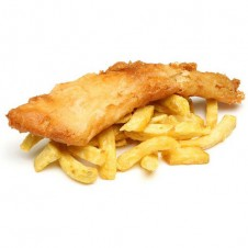 fish and chips with honey mustard sauce by Contis