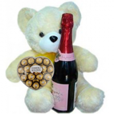 Teddy Bear 17 tall with Ferrero and Champagne Soda