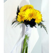 12 Yellow Gerberas in a Bouquet