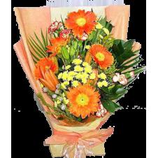 5pcs Orange Gerbera in a Bouquet