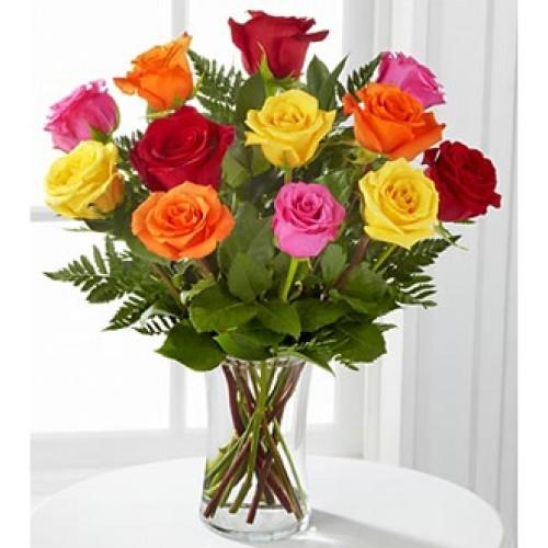 1 Dozen Assorted Roses in a Vase