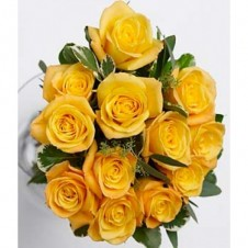 12 Bold Yellow Roses in a Bouquet