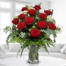 12 Classic Red Roses with Greeney in a Vase