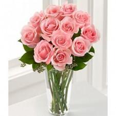 12 Long Stem Pink Rose Vase