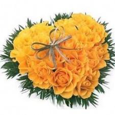 Yellow Roses Heart Shape Arrangement