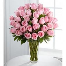 36 Soft Pink Roses in a Vase