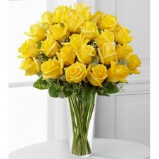 36 Sunny Yellow Rose in a Vase