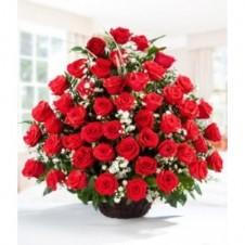 4 Dozen Red Roses In Basket